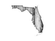 Map of Florida on weathered wood. Colorful and crisp image of map of Florida on weathered wood stock photography