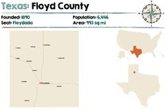 Map of Floyd county in Texas. Detailed map of Floyd county in Texas, USA stock illustration