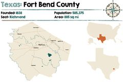 Map of Floyd county in Texas. Detailed map of Floyd county in Texas, USA royalty free illustration