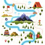 Map of forest or woods and mountain hiking tourism. Hiking or camping tourism forest or woods and mountains map bridge over cliff and car near tent wooden stock illustration