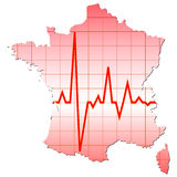 Map of france. With heart pulse Royalty Free Stock Images