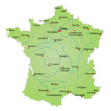 Map of France. Stylized map of France showing cities, provinces and various rivers. All on white background Royalty Free Stock Images
