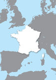 Map of France. France white stylized map in relief Stock Image