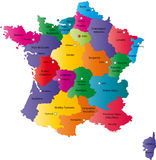 Map of France. France map designed in illustration with the regions colored in bright colors and with the main cities. Neighbouring countries are in an