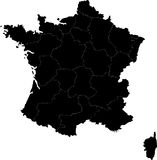 Map of France. Blind map of France with regions borders. Names of the regions, main cities, and neighbouring countries  are in an additional format (.AI) in the Stock Photos