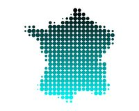 Map of France. In round dots with turquoise gradient Royalty Free Stock Photo