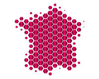 Map of France. In purple hexagons Stock Illustration