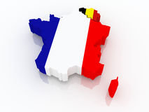 Map of France and Belgium. Royalty Free Stock Photo