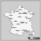 Map of France with big cities. Vector. Map of France. Bright illustration with map. Illustration with black and white background. Vector illustration Royalty Free Stock Image