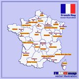 Map of France with French regions. Vector. Map of France. Bright illustration with map. Illustration with blue background. Map of France with major cities and Stock Photo
