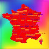 Map of France with French regions. Map of France. Bright illustration with map. Illustration with colorful background. Map of France with major cities and Stock Image