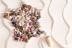 Map of France from colorful waterworn pebbles Stock Photos