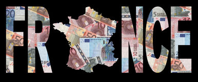 Map of France with currency. Map of France with text on collage of colourful euros illustration royalty free illustration