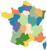 Map of France divided into regions. Map of France divided into twenty two regions Royalty Free Stock Photo