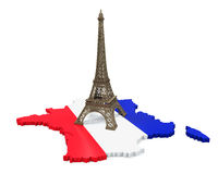 Map of France and Eiffel Tower. Isolated on white background. 3D render Stock Images