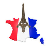 Map of France and Eiffel Tower Royalty Free Stock Photos