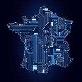 Map of France with electronic circuit Royalty Free Stock Photos