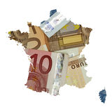 Map of France with euro banknotes background Stock Photo