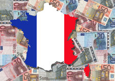 Map of France with euros. Map and flag of France with collage of colourful euro notes illustration Stock Images