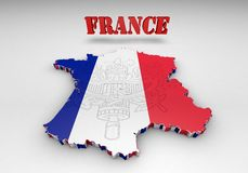 Map of France with flag colors. 3d render illustration Stock Photography