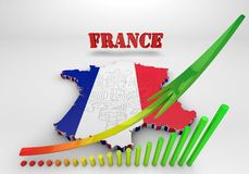 Map of France with flag colors. 3d render illustration Royalty Free Stock Photography