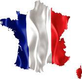 Map of France with flag. Map of France with waving flag isolated on white Stock Photography