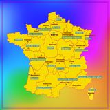 Map of France with French regions. Map of France. Bright illustration with map. Illustration with colorful background. Map of France with major cities and Royalty Free Stock Image