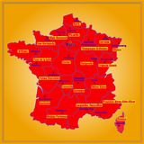 Map of France with French regions. Map of France. Bright illustration with map. Illustration with yellow background. Map of France with major cities and regions Stock Photo