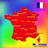 Map of France with French regions. Vector. Map of France. Bright illustration with map. Illustration with colorful background. Map of France with major cities Royalty Free Stock Image