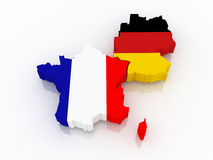 Map of France and Germany. 3d Stock Photos