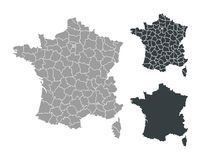 Map of France. Isolated outline map of France with counties, districts on white background Stock Photography
