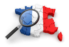 Map of France with loupe Stock Image