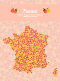 Map of France made out of pink peaches. Vegan card. Map of France made out of pink peaches. Fruitarian illustration. French map poster or card. Veggie postcard Stock Photos