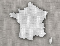 Map of France on old linen. Colorful and crisp image of France on old linen Stock Image