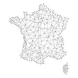 Map of France from polygonal black lines, dots of  illustration Stock Photography