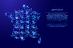 Map France from printed board, chip and radio component with blu. E star space on the contour for banner, poster, greeting card, of vector illustration Stock Image