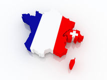Map of France and Switzerland. Stock Photography