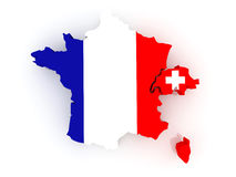 Map of France and Switzerland. Stock Photo
