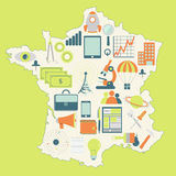 Map of France with technology icons Stock Image