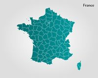 Map of France. Vector illustration. World map Stock Photo