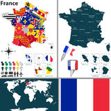 Map of France Royalty Free Stock Photography