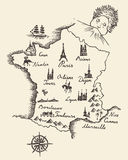 Map of France vintage engraved illustration sketch Stock Photos