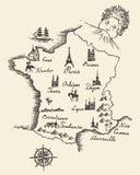 Map of France vintage engraved illustration sketch Stock Photos