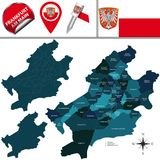 Map of Frankfurt am Main with Districts Stock Photography