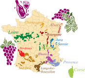 Map french wine. Stock Images