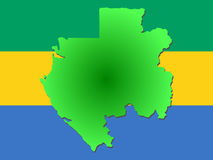 Map of Gabon. And their flag illustration Stock Image
