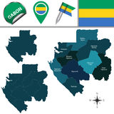 Map of Gabon with Named Provinces Royalty Free Stock Image