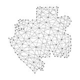 Map of Gabon from polygonal black lines, dots of  illustration Stock Photo