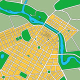 Map of Generic Urban City. Map or plan of generic urban city showing streets and parks Stock Photo