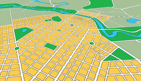 Map of Generic Urban City in Perspective Angle. Map or plan of generic urban city showing streets and parks in perspective angle Royalty Free Stock Photos